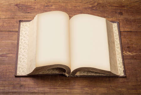 antique books: Open Book blank on old wood background. Stock Photo