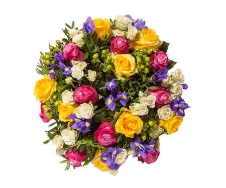 mazzo di fiori: Bouquet di fiori vista superiore isolato su bianco.