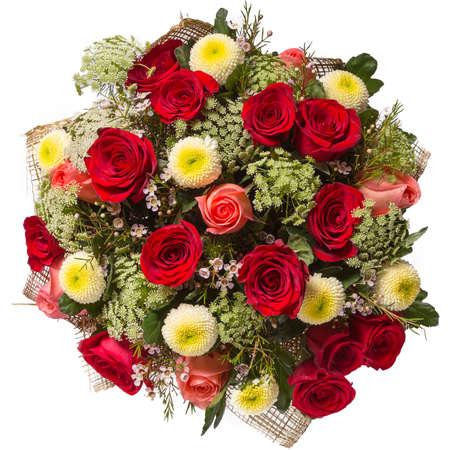 ramo de flores: Ramo de flores vista superior aislado en blanco.