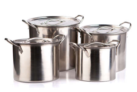 stainless steel pot: Stainless steel pot isolated on white background.