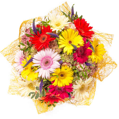 bouquet of flowers: Bouquet of flowers top view isolated on white. Stock Photo
