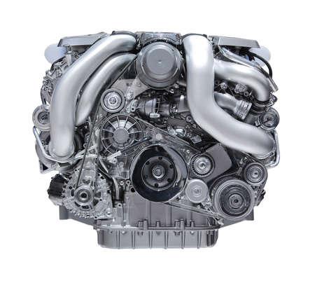 motor show: modern car engine isolated on white background.