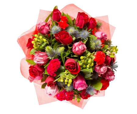 bunch of red roses: Bouquet of flowers top view isolated on white. Stock Photo