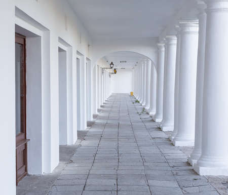 pillar: Pillars and Arch Hallway perspective Russia Suzdal Stock Photo