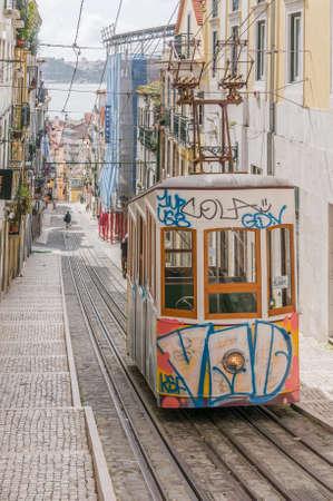 bairro: LISBON, PORTUGAL- MARCH 23, 2013: Lisbons Gloria funicular classified in Bairro Alto in Lisbon, Portugal