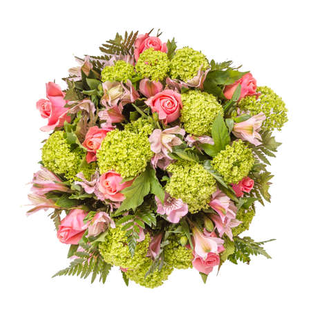 Bouquet of flowers top view isolated on white. Stock Photo