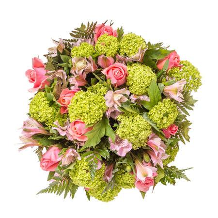 flores moradas: Ramo de flores vista superior aislado en blanco.