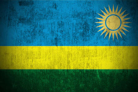 kigali: Weathered Flag Of Rwanda, fabric textured Stock Photo