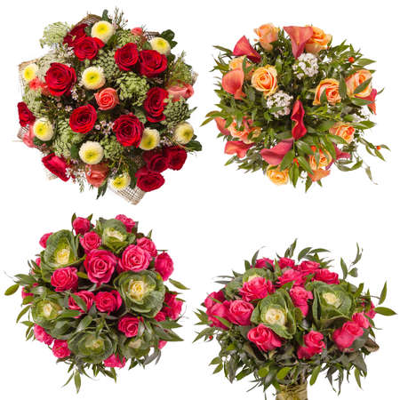 rosas blancas: Top view of four colorful flower bouquets. Foto de archivo