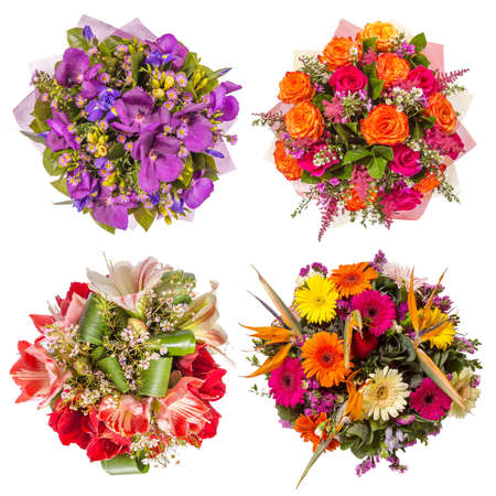 decoration: Top view of four colorful flower bouquets. Stock Photo