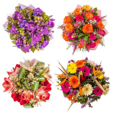 bouquet fleur: Vue de dessus de quatre bouquets de fleurs color�es.