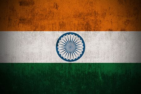 green flag: Weathered Flag Of India, fabric textured