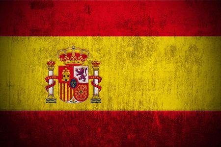 madrid  spain: Weathered Flag Of Spain, fabric textured