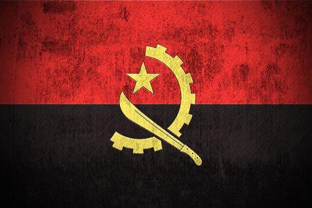 angola: Weathered Flag Of Angola, fabric textured
