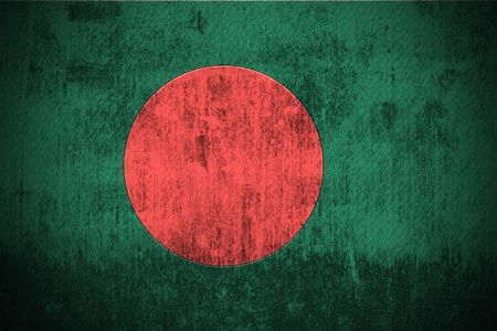 bangladesh: Weathered Flag Of Bangladesh, fabric textured