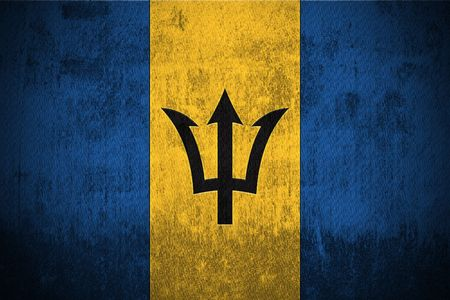 barbadian: Weathered Flag Of Barbados, fabric textured
