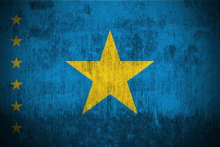 democratic republic of the congo: Weathered Flag Of Democratic Republic Congo, fabric textured