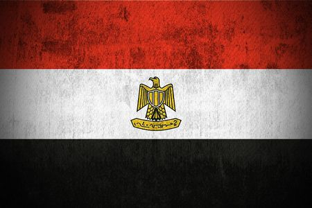 egypt flag: Meteorizado Bandera de Egipto, de tela con textura Foto de archivo