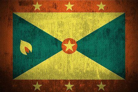 grenada: Weathered Flag Of Grenada, fabric textured   Stock Photo