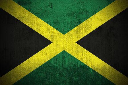 kingston: Weathered Flag Of Jamaica, fabric textured Stock Photo