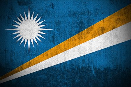 marshall: Weathered Flag Of Marshall Islands, fabric textured   Stock Photo