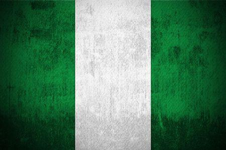 nigeria: Weathered Flag Of Nigeria, fabric textured