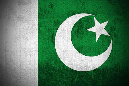 islamabad: Weathered Flag Of Pakistan, fabric textured