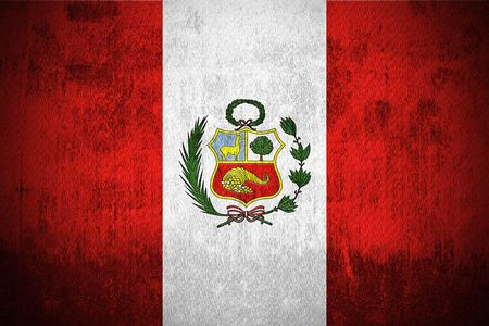 old flag: Weathered Flag Of Peru, fabric textured