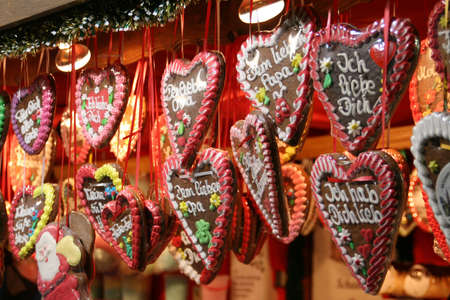 hart: Christmas cookies in hart shape at a christmas market in Vienna in Austria Stock Photo