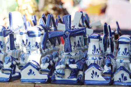 Typical dutch blue windmills souvenirs photo