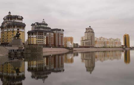 astana:  quay in Astana, Kazakhstan, morning in the city