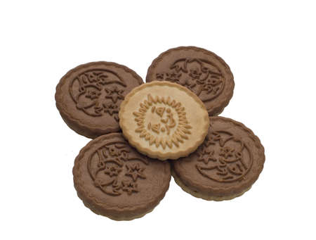 five cookies isolated on a white background photo
