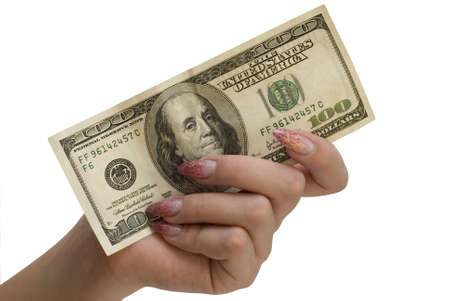 hand and 100 dollars isolated on a white background photo