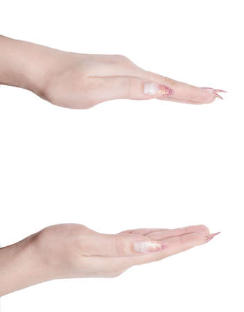 hand gesture isolated over white background photo