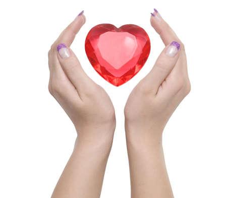 hart tussen twee vrouwelijke handen