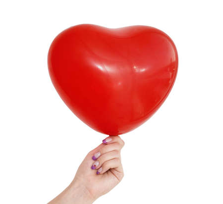red balloon in female hand isolated over white background Stock Photo - 2475299