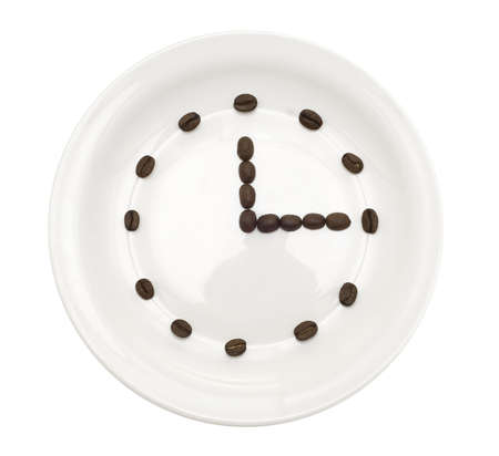 coffee clock isolated over white background photo