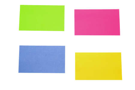 noted: color sticky noted over white  Stock Photo