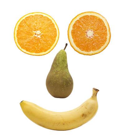 fruit face isolated over white background photo