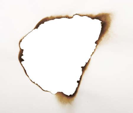 burned hole isolated on white photo