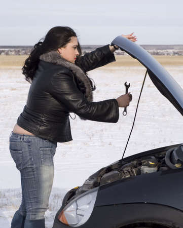 woman with her broken car Stock Photo - 2660847