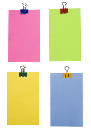 empty sticky notes isolated over white photo