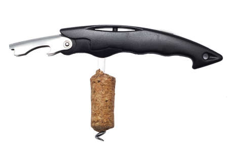 gimlet: corkscrew and opener isolated over white