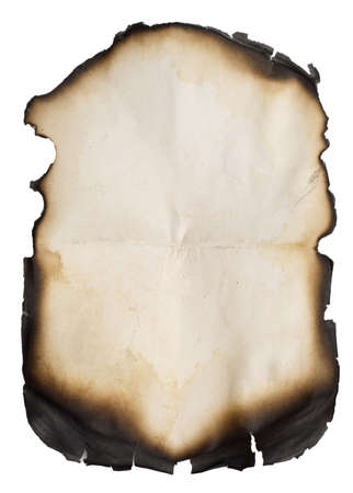 burnt old paper isolated over white background Stock Photo - 2827000