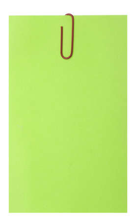 empty green blank and paperclip isolated over white photo