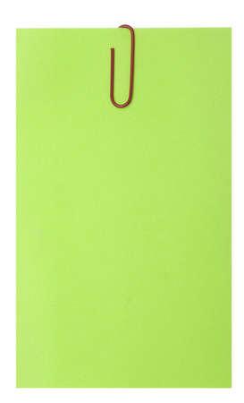 lege groene blank en paperclip geïsoleerd over wit Stockfoto