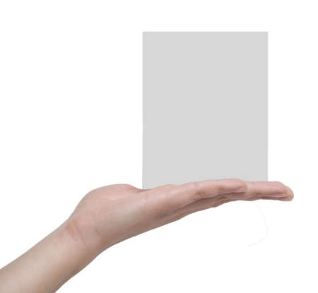 blank on a hand isolated over white Stock Photo