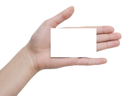 paper blank in a hand isolated on white Stock Photo - 3019556