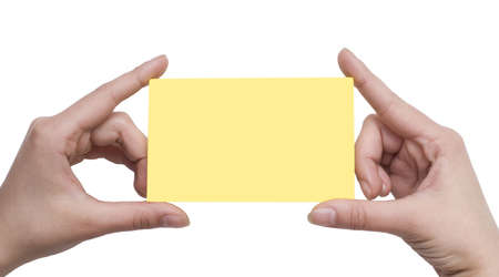 paper card in a  hands isolated on white Stock Photo - 3019619