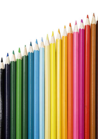 colored pencils isolated on white photo